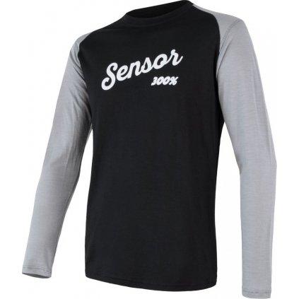 Pánské tričko SENSOR Merino active pt logo černá