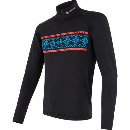 SENSOR COOLMAX THERMO pánské triko dl.rukáv zip černá/vzor