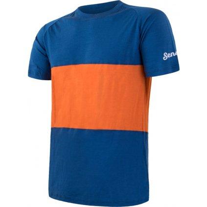 Pánské termo tričko SENSOR Merino air pt modrá/oranžová