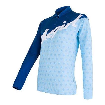 SENSOR CYKLO STARS dámský dres dl.rukáv modrá (Akce B2B)