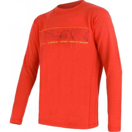 Pánské tričko SENSOR Merino active pt gps červená