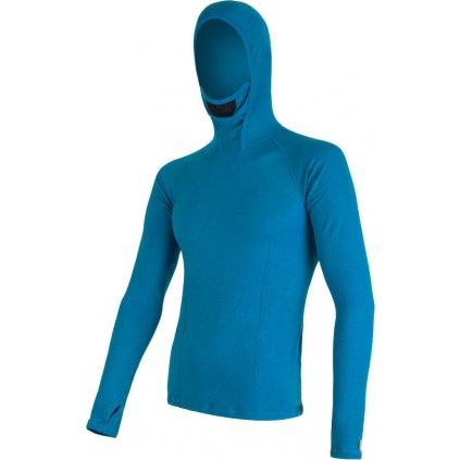 SENSOR MERINO DF pánské triko dl.rukáv s kapucí modrá