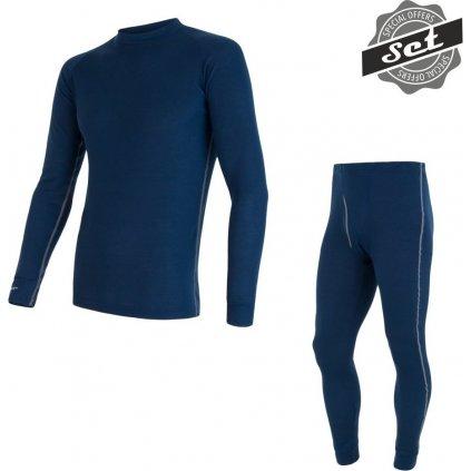 SENSOR ORIGINAL ACTIVE SET pánský triko dl.rukáv + spodky tm.modrá