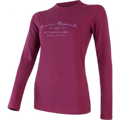 Dámské termo tričko SENSOR Merino df label fialová