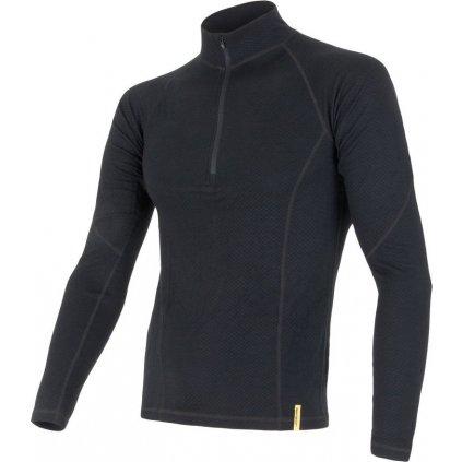 SENSOR MERINO DF pánské triko dl.rukáv zip černá