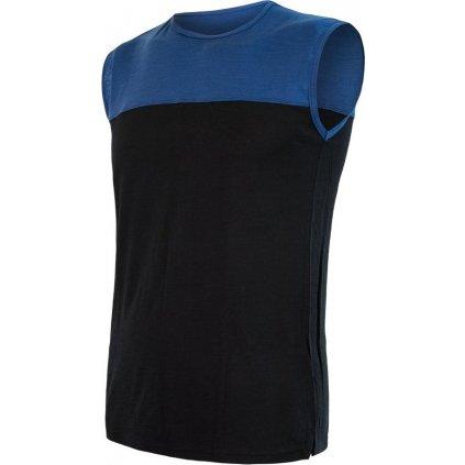 SENSOR MERINO AIR PT pánské triko bez rukávu černá/modrá