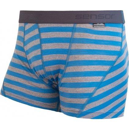 Pánské termo boxerky SENSOR Merino active modrá/šedá pruhy