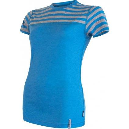Dámské termo tričko SENSOR Merino active modrá/pruhy