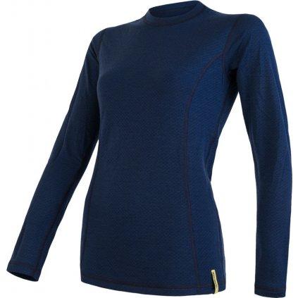 SENSOR MERINO DF dámské triko dl.rukáv deep blu