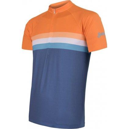 SENSOR CYKLO SUMMER STRIPE pánský dres kr.rukáv modrá/oranžová