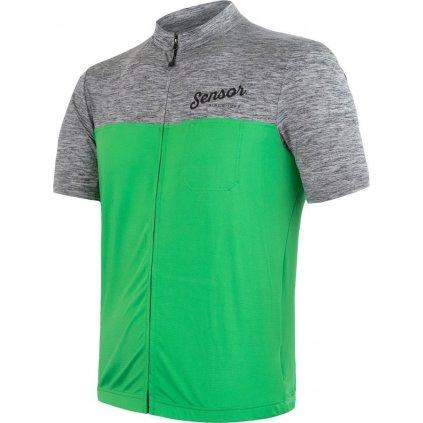 SENSOR CYKLO MOTION pánský dres kr.rukáv celozip šedá/zelená