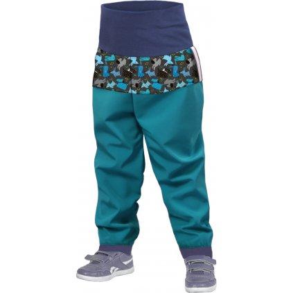 Unuo, Batolecí softshellové kalhoty bez zateplení, Smaragdová, Pejsci