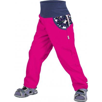 Dětské softshellové kalhoty bez zateplení UNUO, Fuchsiová, Jednorožci