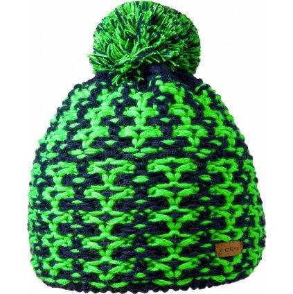 Zimní čepice RELAX Amelia modrá, neon zelená