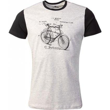Pánské bavlněné triko O'STYLE Bike šedočerné