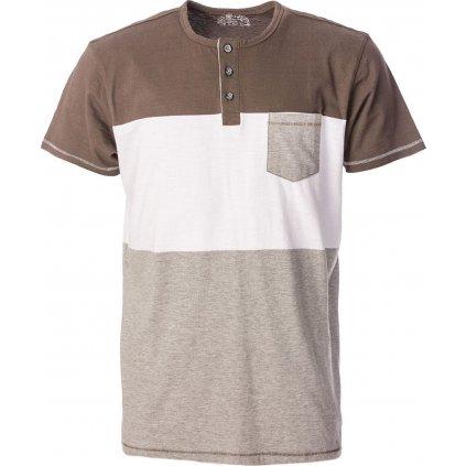 Pánské bavlněné triko O'STYLE Karl hnědobílé