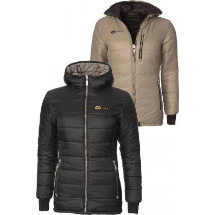 Dámská oboustranná zateplená bunda O'STYLE Goldie šedočerná