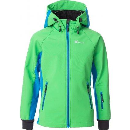 Juniorská softshellová bunda O'STYLE Agilis II zelenomodrá