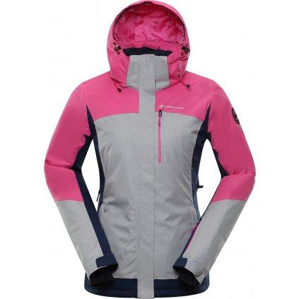 Dámská lyžařská bunda ALPINE PRO Sardara 3 šedá/růžová