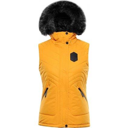 Dámská prošívaná vesta ALPINE PRO Jarvisa 3 žlutá