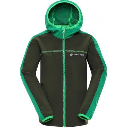Dětská softshellová bunda ALPINE PRO Nootko 7 šedá/zelená