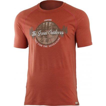 Pánské merino triko LASTING Lucas cihlové