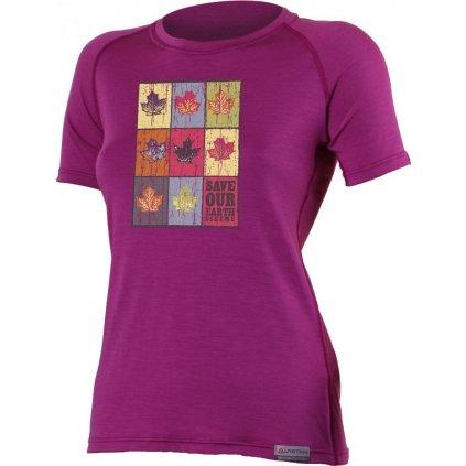 Dámské merino triko LASTING List fialová