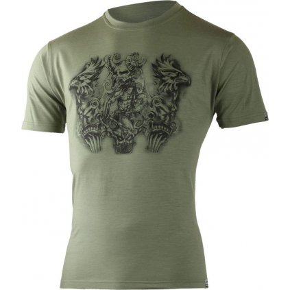 Pánské merino triko s tiskem LASTING Hero zelené