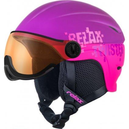 Dětská lyžařská helma RELAX Twister Visor fialová/růžová