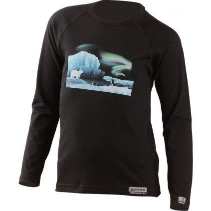 Dětské merino triko LASTING Polar černé