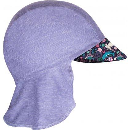 Dětská funkční čepice UNUO s kšiltem a plachetkou UV 50+, Žíhaná Holubičí Šedá, Mořský svět