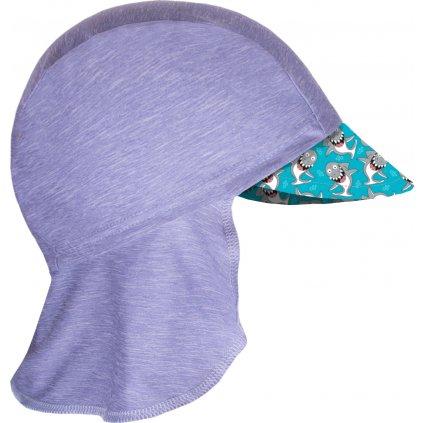 Dětská funkční čepice UNUO s kšiltem a plachetkou UV 50+, Žíhaná Holubičí Šedá, Žraloci