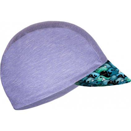 Dětská funkční čepice UNUO s kšiltem UV 50+, Žíhaná Holubičí Šedá, Velryby kluk