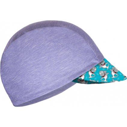Dětská funkční čepice UNUO s kšiltem UV 50+, Žíhaná Holubičí Šedá, Žraloci