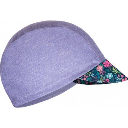 Dětská funkční čepice UNUO s kšiltem UV 50+, Žíhaná Holubičí Šedá, Květinky