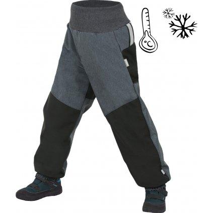 Unuo, Dětské softshellové oteplovačky UNUO s fleecem, Černá, Žíhaná Antracitová