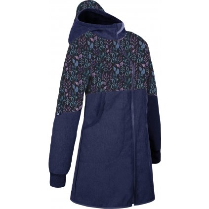 Dámský softshellový kabát UNUO s fleecem, Žíhaná Tm. Modrá, Lístečky