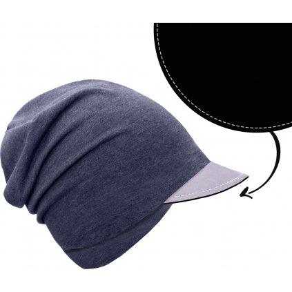 Dětská čepice UNUO z teplákoviny s reflexním kšiltem spadená, Jeans temný, Černá