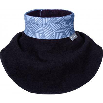 Dětský nákrčník UNUO z fleecu na suchý zip, Sharp kluk, Černá