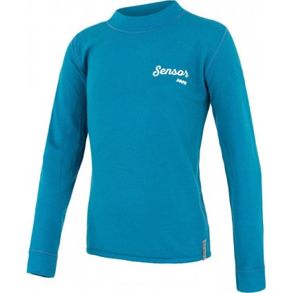 Dětské funkční tričko SENSOR Merino Double Face Logo modrá