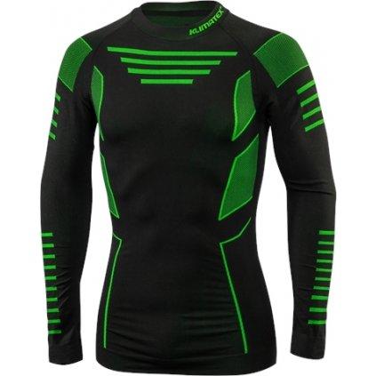 Pánské bezešvé triko KLIMATEX Croul černá/zelená