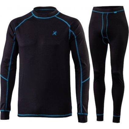 Pánský set zimního prádla KLIMATEX Ragos černá/modrá
