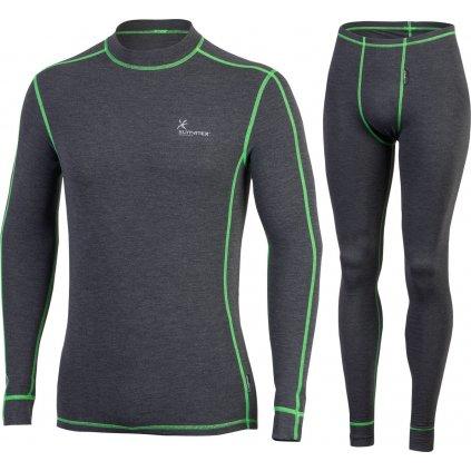 Pánský set zimního prádla KLIMATEX Calum šedá/zelená