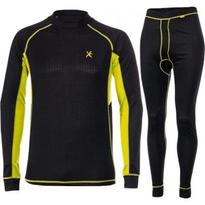 Pánský set zimního prádla KLIMATEX Chico černá/žlutá