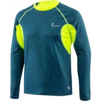 Pánské běžecké triko KLIMATEX Cruz zelenomodrá