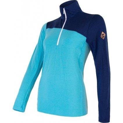 Dámské termo tričko SENSOR Merino extreme modrá zip