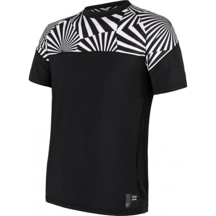 Pánské tričko SENSOR Coolmax impress černá/geometry