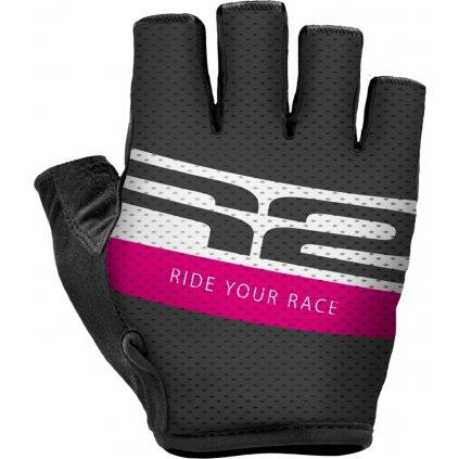 Cyklistické rukavice R2 Ride černé/růžové