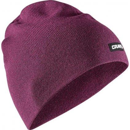 Merino čepice CRAFT Solid Knit fialová