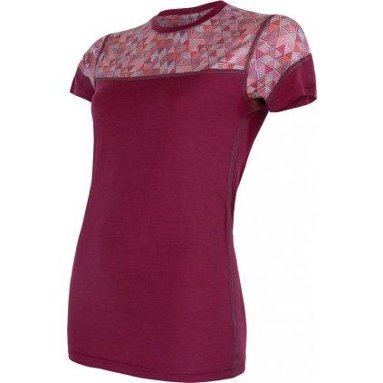 Dámské termo tričko SENSOR Merino Impress růžová/pattern
